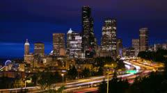 Seattle night timelapse city skyline traffic - stock footage