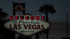USA Las Vegas welcome neon sign Stock Footage