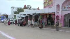India Rajasthan Pushkar pilgrims approach entrance pan 3 Stock Footage