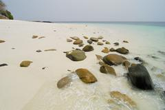 Sunny tropical  beach in chapera island shore. las perlas archipelago, panama Stock Photos