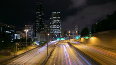 Seattle downtown night traffic time-lapse 4k ultra HD Stock Footage