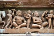 Stock Photo of Carvings on temple walls at Khajuraho AD 930-950