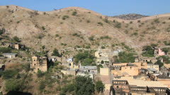 India Amber Fort town view Stock Footage