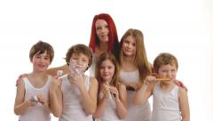 Mother many children 3 Stock Footage