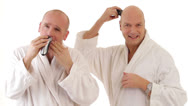 Stock Video Footage of men shaving