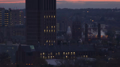 Stock Video Footage of New Haven Connecticut Skyline at Dusk HD Video