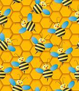 beehive seamless pattern - stock illustration