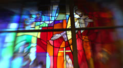 Stained Glass Window in Church HD Video Stock Footage