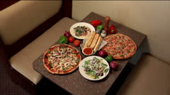 Pizza Dinner, zoom in - stock footage