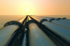 Pipeline sunset. - stock illustration