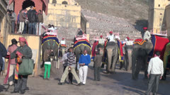 India Rajasthan Amber elephant ride departs from depot 3 Stock Footage