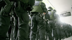 Armed police line-up - stock footage