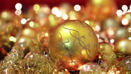Stock Video Footage of Golden Christmas Decoration With Lights