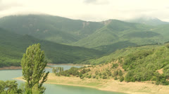Big river in the mountains. Mountains landscape Stock Footage