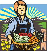 Organic farmer farm produce harvest retro. Stock Illustration