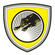 Panther big cat growling crest Stock Illustration
