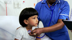 Close Up Asian Indian Child Receiving Specialist Paediatric Care - stock footage