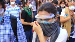 Protesters gathering on Istiklal Street Stock Footage