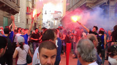 Crowds gathering on Istiklal Street Stock Footage