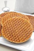 Stroopwafels, typical dutch cookies filled with syrup Stock Photos