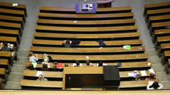University lecture room with students Stock Footage