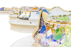 detail of colorful mosaic in a bench of park guell, isolated on white ackgrou - stock photo