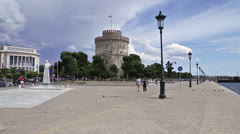 View of Thessaloniki's White Tower Stock Footage
