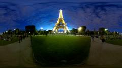 4K UHD Eiffel Tower stars, 360 video panorama time lapse Stock Footage