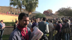 India Amber fort line for elephant ride editorial  Stock Footage