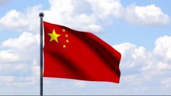 Animated Flag of China Stock Footage