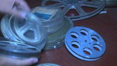 Preparation for film screening Stock Footage