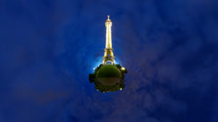Eiffel Tower stars, 360 video panorama HD time lapse Stock Footage