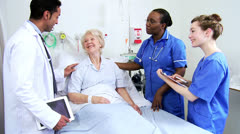 Retired Hospital Patient Being Treated Nursing Staff Close Up Stock Footage