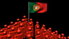 Zooming out from pyramid of men with rippling Portugal flag animation Stock Footage