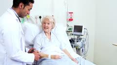 Senior Caucasian Hospital Patient Multi Ethnic Medical Staff Stock Footage
