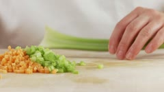 Celery being cut into sticks Stock Footage