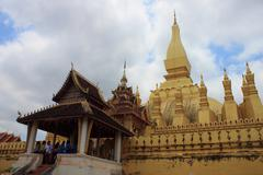 pha that luang is located in laos. - stock photo