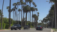Stock Video Footage of Traffic street in Beverly Hills by day, Hollywood Boulevard, Blvd, Los Angeles,