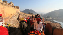 India Amber Fort elephant ride Stock Footage