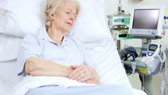 Caucasian Female Patient Recovering Hospital Bed Stock Footage