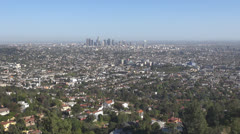 Aerial view of Downtown Los Angeles in foggy day, LA California, USA Stock Footage
