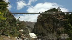 Himalayas suspension bridge Stock Footage