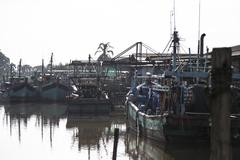 Traditional fishing harbour Stock Photos