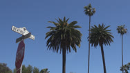 Stock Video Footage of Beverly Hills sign with palm tree by day, Hollywood, Los Angeles, LA, California