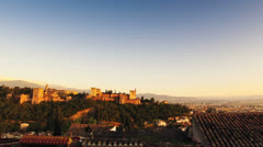 Alhambra at sunset Stock Footage