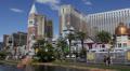 Rush Hour Crows People Commuting Visit Las Vegas Strip Boulevard Venetian Hotel  Footage