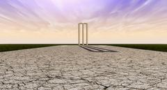Cricket wickets on pitch horizon Stock Illustration