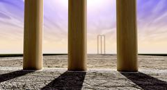 cricket wickets on pitch horizon both straight - stock illustration
