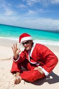 Hot happy chistmas on beach Stock Photos