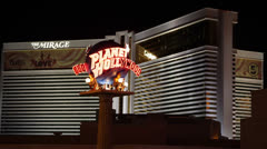Nightlife Crowded Las Vegas Strip Boulevard, Planet Hollywood Neon Sign, Mirage Stock Footage